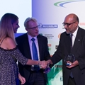 Low Carbon Transport Initiative of the Year - H2 Aberdeen L-R Nicki Shields - MC, Darran Messem - LowCVP Chair, Yasa Ratnayeke - H2 Aberdeen.
