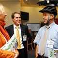 LowCVP Deputy Director Jonathan Murray (centre) in discussion with conference delegates