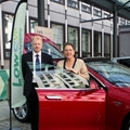 Transport Minister Baroness Kramer and LowCVP Chairman Darran Messem at vehicle display outside LowCVP Conference